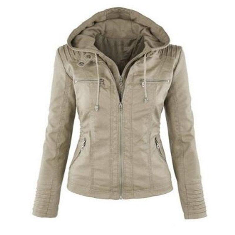 2019 Fashion Winter Faux Leather Jacket Women's Basic Jackets Hooded Black Slim Motorcycle Jacket Women Coats Female XS-7XL