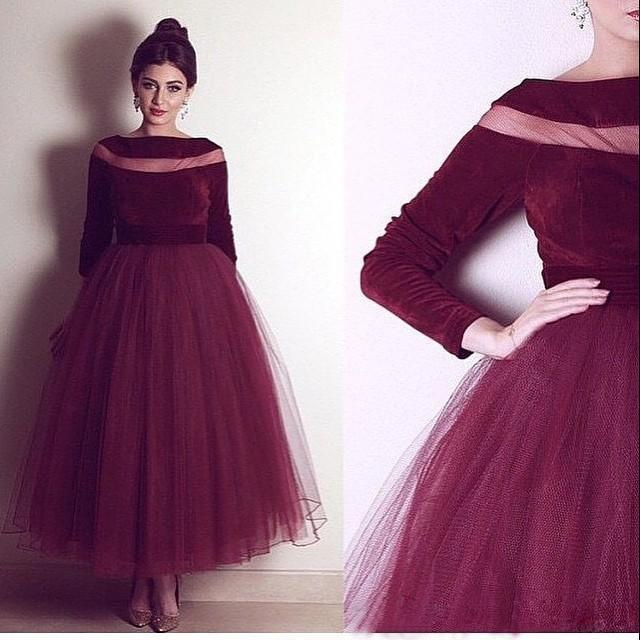 3a1da82ed8851 Vintage 1950s Burgundy Arabic Evening Dresses scoop Neck Ankle Length Dark  Red Velvet Dubai Ladies Formal