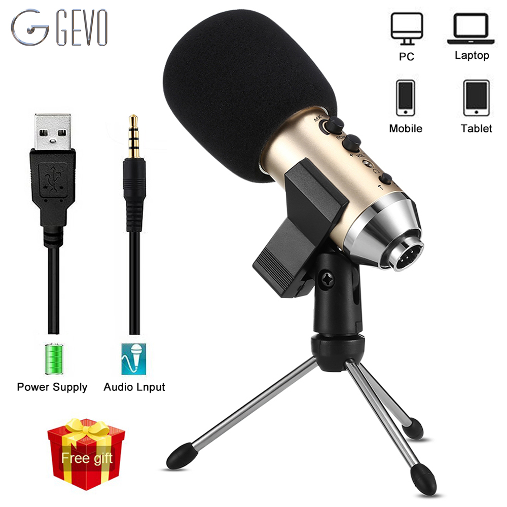 GEVO MK-F500TL Microphone For Phone Professional 3.5mm Wired USB Condenser Studio Microphone For Computer Karaoke PC Mic Stand gevo sf 910 microphone for phone 3 5mm cable wired with tripod stand pc mic for computer laptop karaoke studio desktop recording