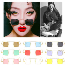 Small Square Men Women Glasses  Sunglasses Vintage Red Pink Color Punk Eyewear Womens