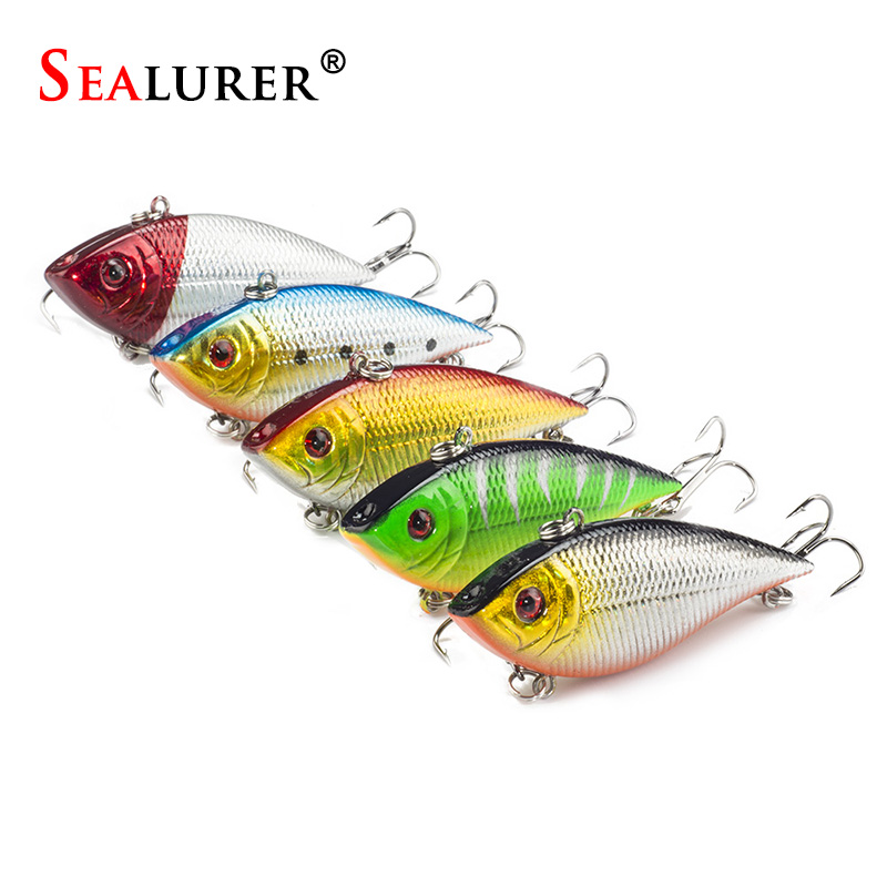SEALURER 5PCS Fishing Sinking VIB Lure 11g 7cm Vibration Vibe Rattle Hooks Baits Crankbaits   5 Colors Free Shipping lifelike earthworm style fishing baits 5 pcs