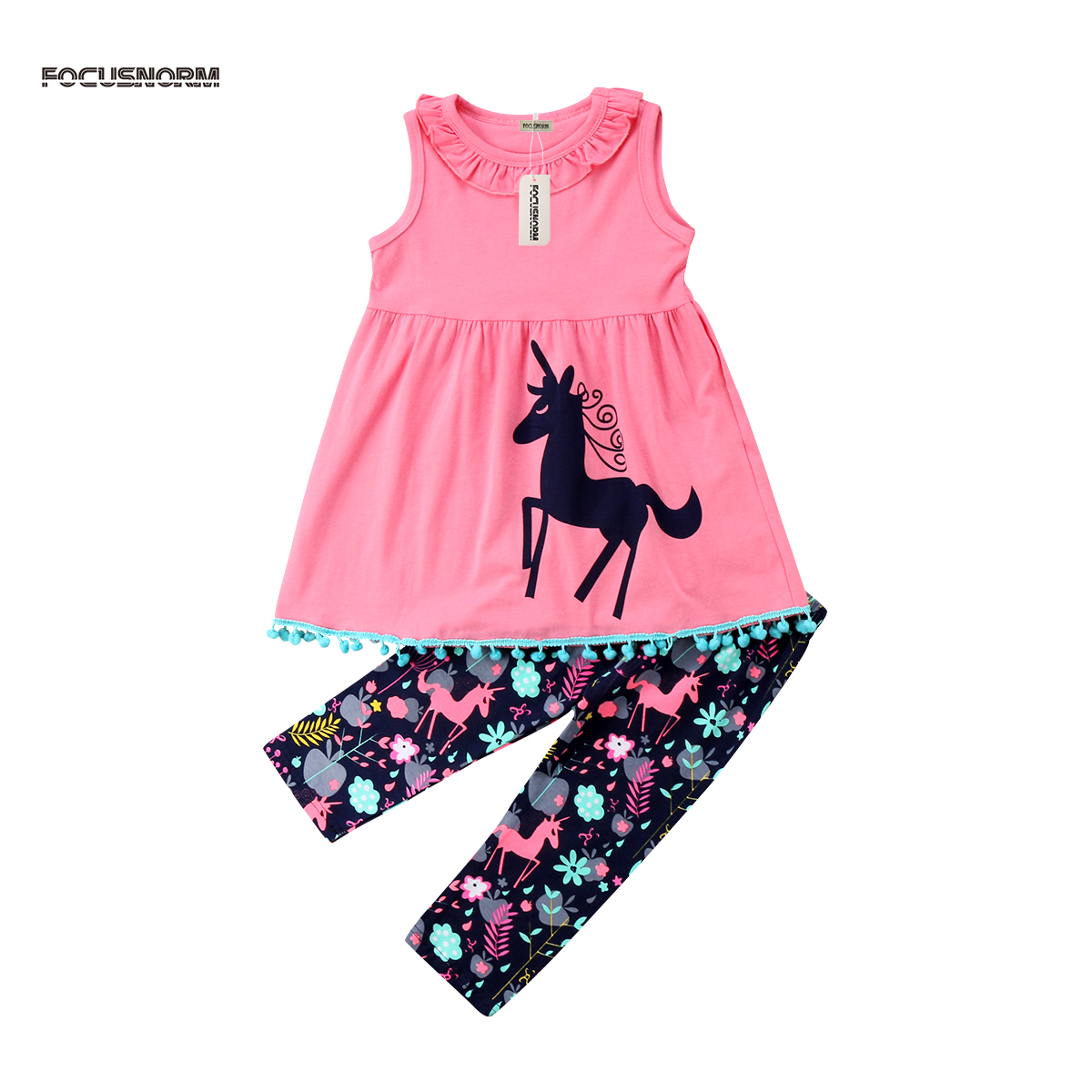Kids Baby Girls Outfit Set Unicorn Clothes Sleeveless Vest Dress Tops T-shirt+Long Trousers Pants 2Pcs flower sleeveless vest t shirt tops vest shorts pants outfit girl clothes set 2pcs baby children girls kids clothing bow knot