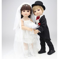 Fashion High end BJD Reborn Dolls Babies Silicone Wedding Dolls Bride and Groom Simulation Dolls Send Girlfriends Wedding Gifts