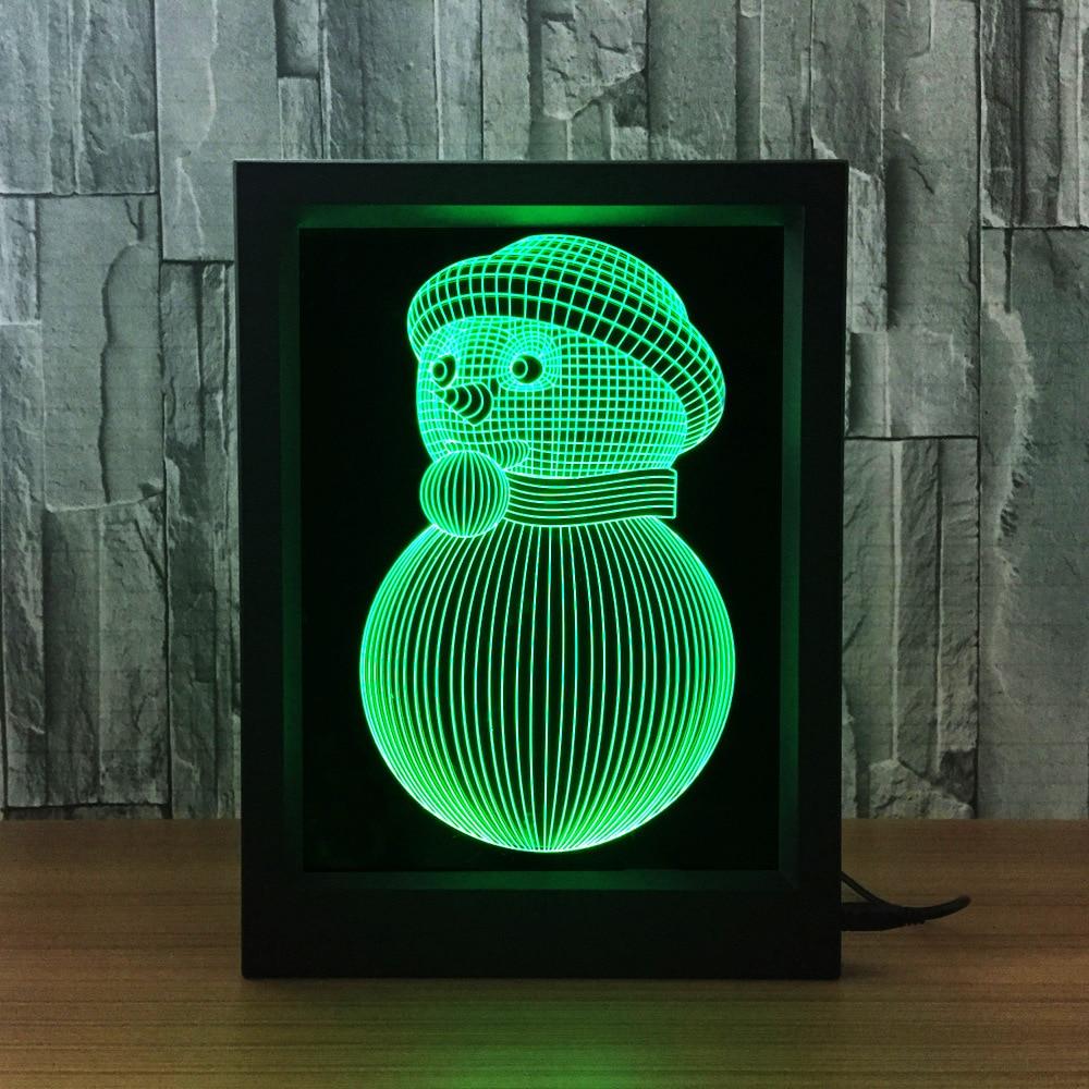 Снеговик Мода и творчество 3D герои мультфильмов подарок постельное белье ночник украшения Атмосфера лампы красочная фоторамка