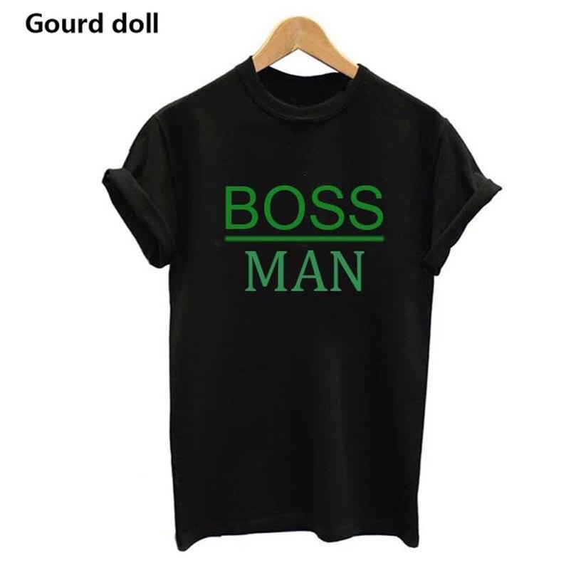 Семейные комплекты одежды, футболки для папы и сына, семейная одежда, детские футболки, топы с буквенным принтом gourd Doll - Цвет: BOSS MAN GREEN