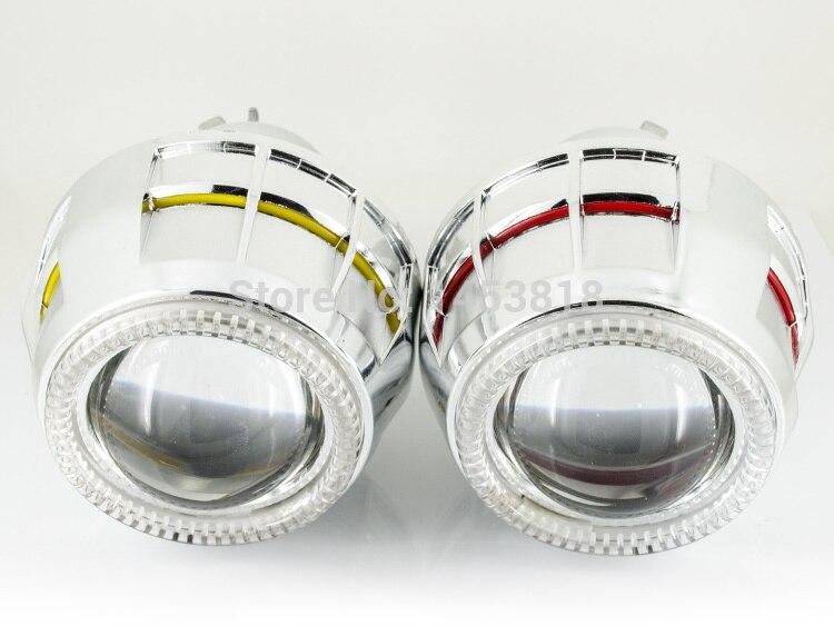2PCS 2.8 inch HID Bi- Double Headlight Projector Lens Kit lenses12v 24v For H1 H3 H7 H11 9005 9006 Bulb CCFL Angel Eye RHD headlight kit 3 bifocal q5 projector lens 35w hid bulb ballast cob angel eyes and shroud for h1 h4 h7 h11 9005 9006 socket