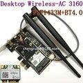 Intel Desktop 3160. Hmwg. R dupla sem fio AC + Bluetooth Mini PCIe suporta 2.4 e 5.8 Ghz B / G / N / AC 6DB antena