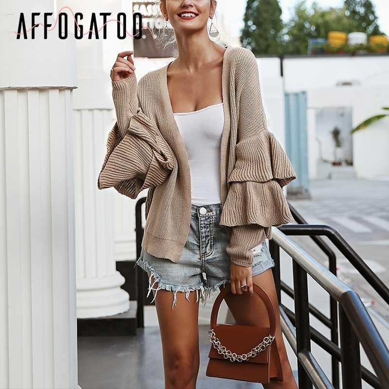 Afogafoo/Повседневный короткий вязаный кардиган с оборками и рукавами, уличная зимняя одежда, женский кардиган с v-образным вырезом, свитера цвета хаки, женская верхняя одежда 2018