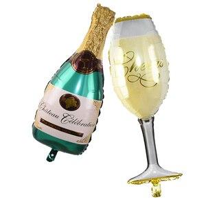 1 шт. Свадебные юбилейные вечерние фольга шарики в виде бутылок шампанского бутылка/пивная чашка/день рождения торт баллоны Свадебные украшения день рождения вечерние