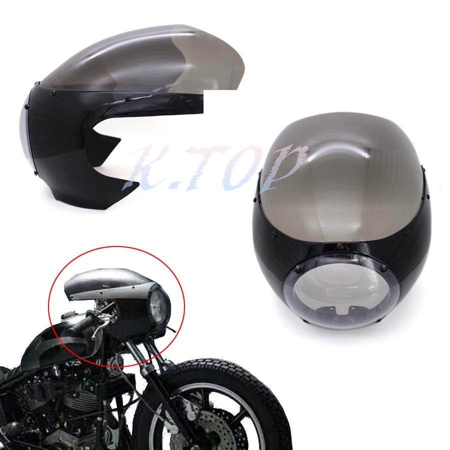 Black Motorcycle Headlight Fairing Windshield Vintage Drag Racing Viper Cafe Racer