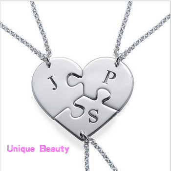 3Pcs Puzzle Family Necklace Sets 925 Solid Silver Stamped Initials Necklace Personalzied Name BFF Necklace Christmas Gift
