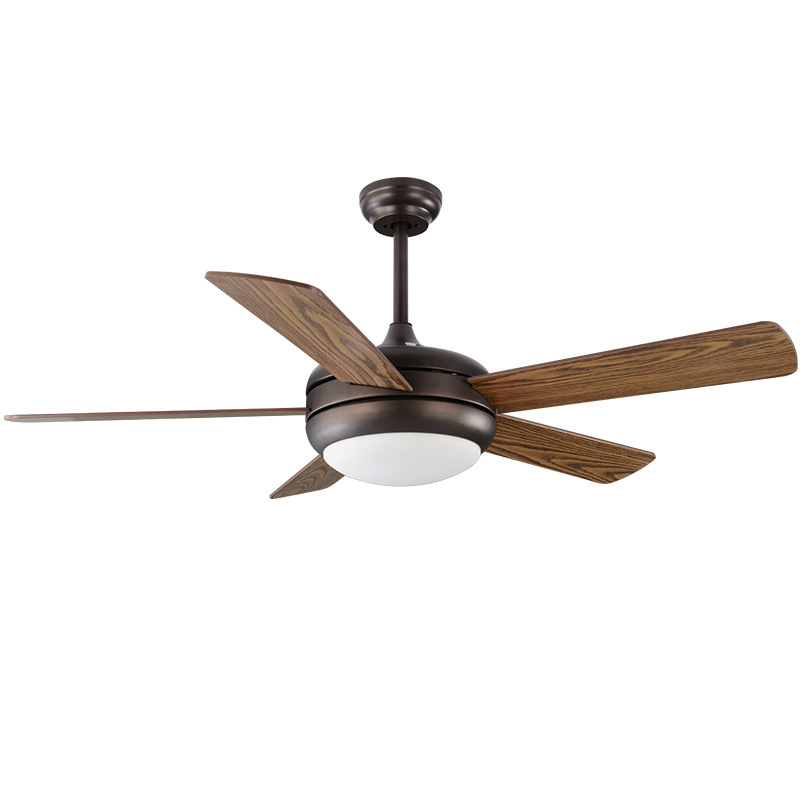 6 Leaves Ceiling fan modern brown ceiling fans with lights Wooden Leaves Remote control Led light 42/48/52 inch