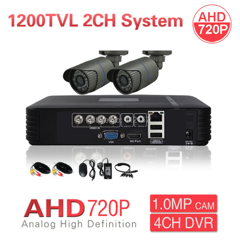 CCTV Security 2CH AHD 720P 1200TVL Camera System 4CH HD DVR PC Mobile Phone Remote View P2P 1200TVL Video Surveillance Kit free shipping 4 ch 4g gps vehicle car dvr kit h 264 g sensor mobile dvr pc phone real time view duty cctv camera for car truck