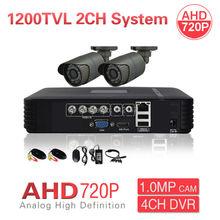 CCTV Security 2CH AHD 720P 1200TVL Camera System 4CH HD DVR PC Mobile Phone Remote View P2P 1200TVL Video Surveillance Kit