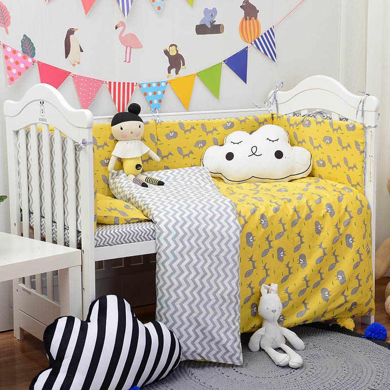 Muslinlife Новая мода желтая лиса детская кроватка бампер, чехол из хлопка детские мягкие бортики для кровати (варианты для 1 шт./компл.-7 шт./компл.)