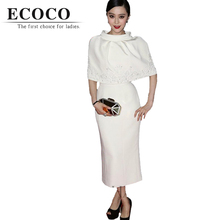 D401 top runway spring summer fashion official casual women work lady long tank white dress cape cloak suits for wedding party