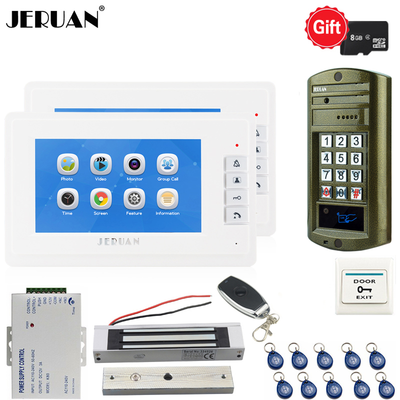 JERUAN 7`` Video Doorbell Voice/Video Recording Intercom System kit Waterproof password Mini Camera 1V2 +180kg Magnetic lock jeruan 7 lcd video doorbell voice video recording intercom system kit 2 monitors waterproof password access mini camera 1v2
