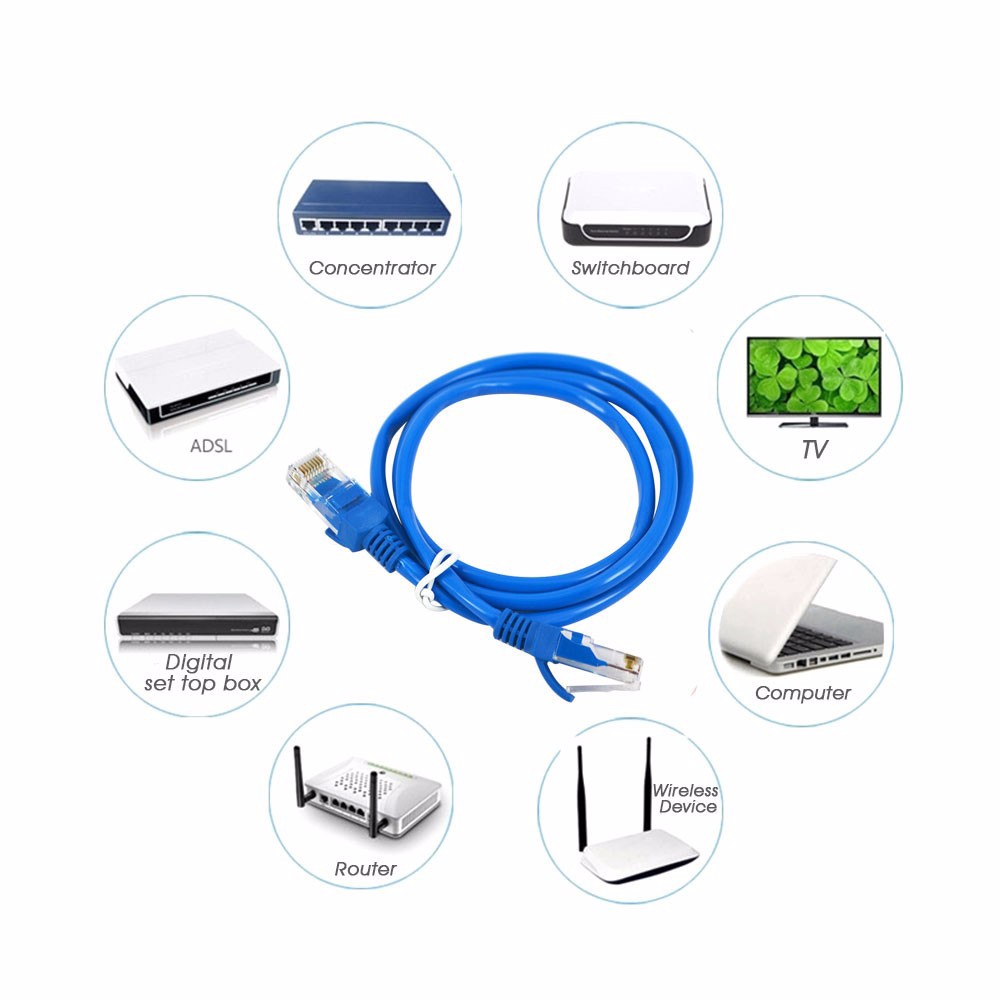 High Speed Durable Blue Rj45 For Cat5e Cat5 Ethernet Internet Usb Lan Adapter Biru To Network Patch Cable Cord Computer Laptop In Cables From Office