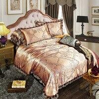 4 шт. жаккарда, Шелковый комплект постельного белья из сатина, постельное белье/постельное белье, королева, размер King, включая пододеяльник,