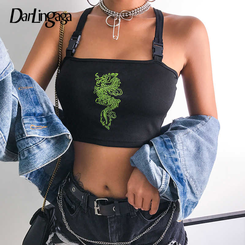 Darlingaga Chinese style streetwear crop top women cami Dragon embroidery buckle criss-cross summer top 2019 short festival tops