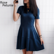 New fashion 2017 autumn winter women Vintage Suede dresses o-neck short sleeve dress sexy party zipper dresses