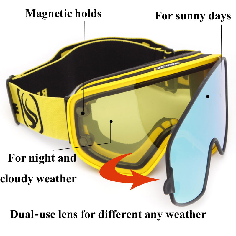 2 в 1 с магнитным двойным использованием поляризованные линзы противотуманные UV400 сноуборд мужские лыжные очки женские лыжный шлем очки набор - 4