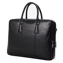 Fashion brand men leather handbag luxury high quality genuine leather men business bag double-layers zipper space men briefcase
