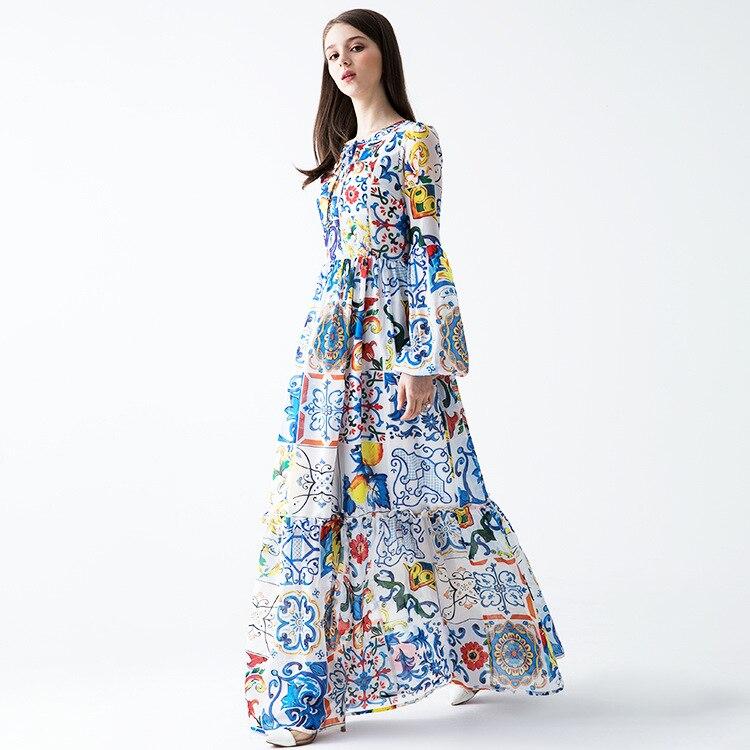 Feminino azul branco sicília porcelana padrões imprimir verão maxi vestido até o chão manga alargamento boêmio vestidos 2019 nova marca - 4