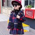 Meninas Com Capuz Jaqueta de Inverno 2016 Casaco Longo Menina Outerwear Crianças Parkas Roupas Casaco com Capuz Roupas de Inverno Meninas De Pele