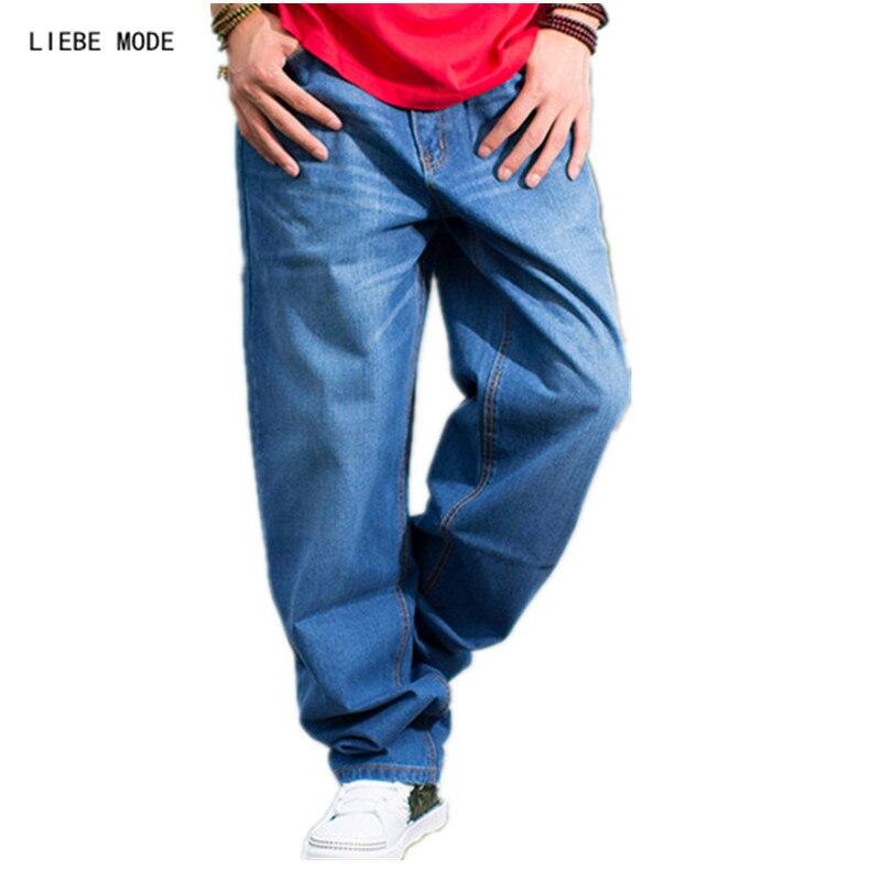 Hip Hop Baggy Jeans For Men 2017 Skateboard Denim Pants Plus Size Mens Straight Wide Leg Trouser Jeans Dark Blue 38 40 42 44 46