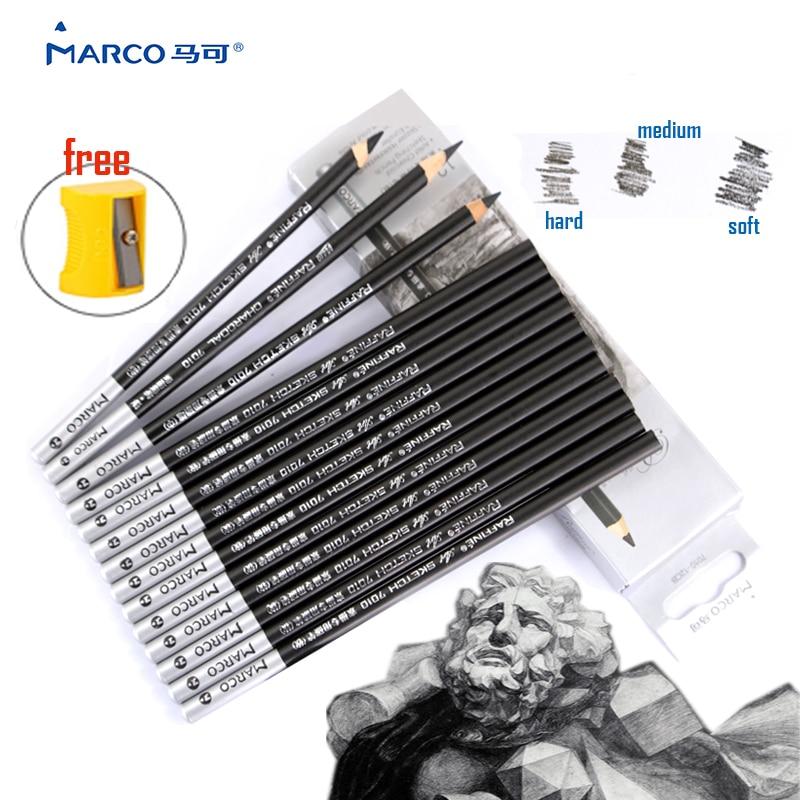 12 pcs/lot MARCO 7010 Charcoal Sketch Carbon Pen Charcoal Painting ...