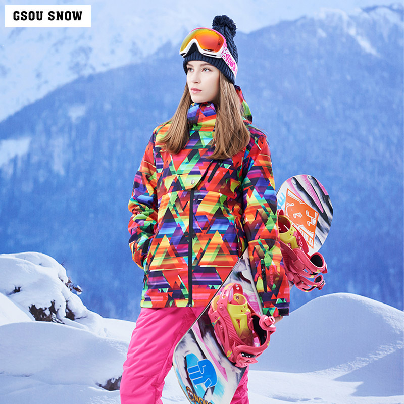 Gsou Snow new ski wear women's outdoor winter windproof waterproof breathable warm mountaineering ski jacket free shipping free shipping the new 2017 gsou snow ski suit man windproof and waterproof breathable double plate warm winter ski clothes