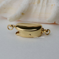 Solid 9k 14k Karat Yellow Gold Clasp Bea Shaped Au375 9ct Oro Buckle For Pearl Necklace