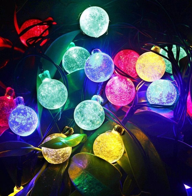 Solar Powered Fairy Lights Bubble Ball 30 LED Christmas Lights Outdoor String Lighting led strip Decorations for home Garden