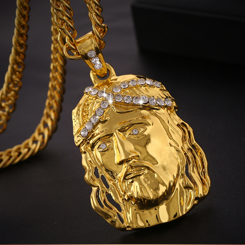 SONYA Gold Big Jesus Penddant Necklace For Men/Women and 29.53in Chain Length Hip Hop JewelrySONYA Gold Big Jesus Penddant Necklace For Men/Women and 29.53in Chain Length Hip Hop Jewelry