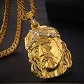 Sonya ouro grande jesus pingente colar para homem/mulher e 29.53in corrente comprimento hip hop jóias