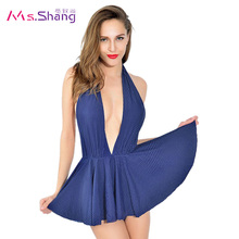 2017 Sexy One Piece Swimwear Women Skirt Retro Vintage Monokini Padded Ladies Halter Female Dot Deep V Swimsuits Blue Biquini XL