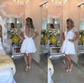Lovely White Appliques Lace Short Sleeve Homecoming Dresses Cheap A-line Pearls Beaded Short Prom Gowns Cheap Cocktail Dresses