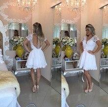 Schöne Weiß Appliques Spitze Kurzarm Homecoming Kleider A-line Perlen Perlen Kurze Abendkleider Günstige Cocktailkleider