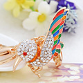 Charm Crystal Keychain Bird Key Holder Rhinestone Keyring Keyfob Gold Plated Pendant Bag Key Chain Rings Women Jewelry