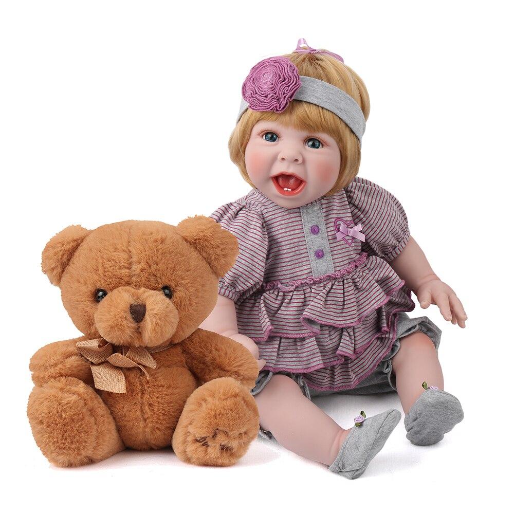 22 Inch Lifelike Soft Silicone Reborn Babies Dolls Bebe boneca For Girls Toys Alive Newborn Baby