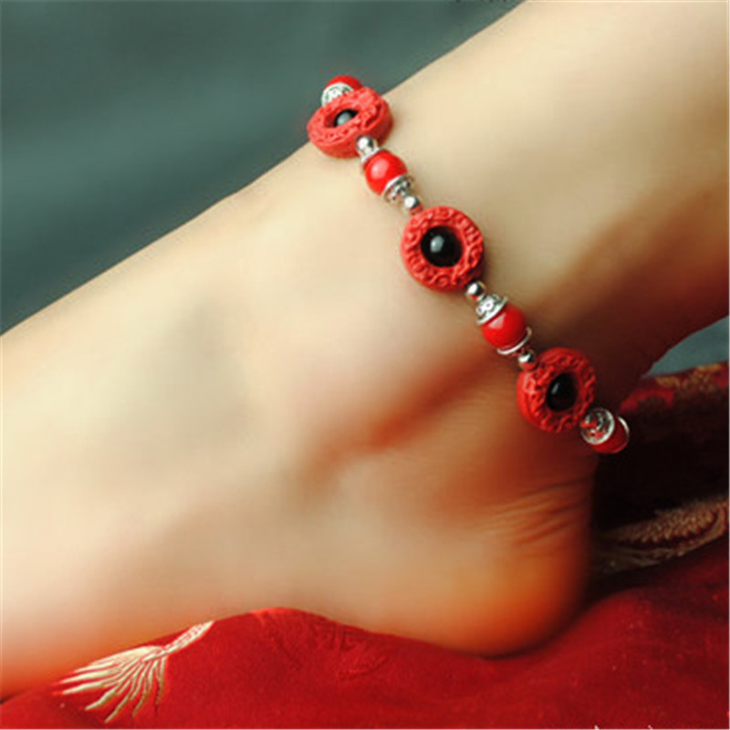 Women anklets wholesale 2016 new accessories DIY lacquer carving retro foot rope jewelry bracelet cheville enkelbandje gift T025