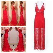 Women's Long red lace dress backless deep v dress formal Ball Prom Gown Formal bride Dress Party Lace Floor -length Dres