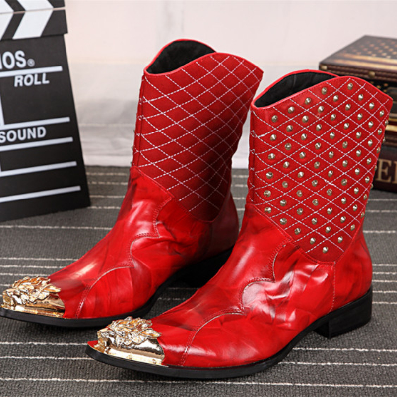 Designer Men Shoes Fashion Mid-calf Boots Red Rivets Genuine Leather Men Cowboy Boot Party Dress Shoes Men Pointed Toe Boots for acer aspire 5742g 5749 laptop led lcd screen 15 6 wxga hd original glossy