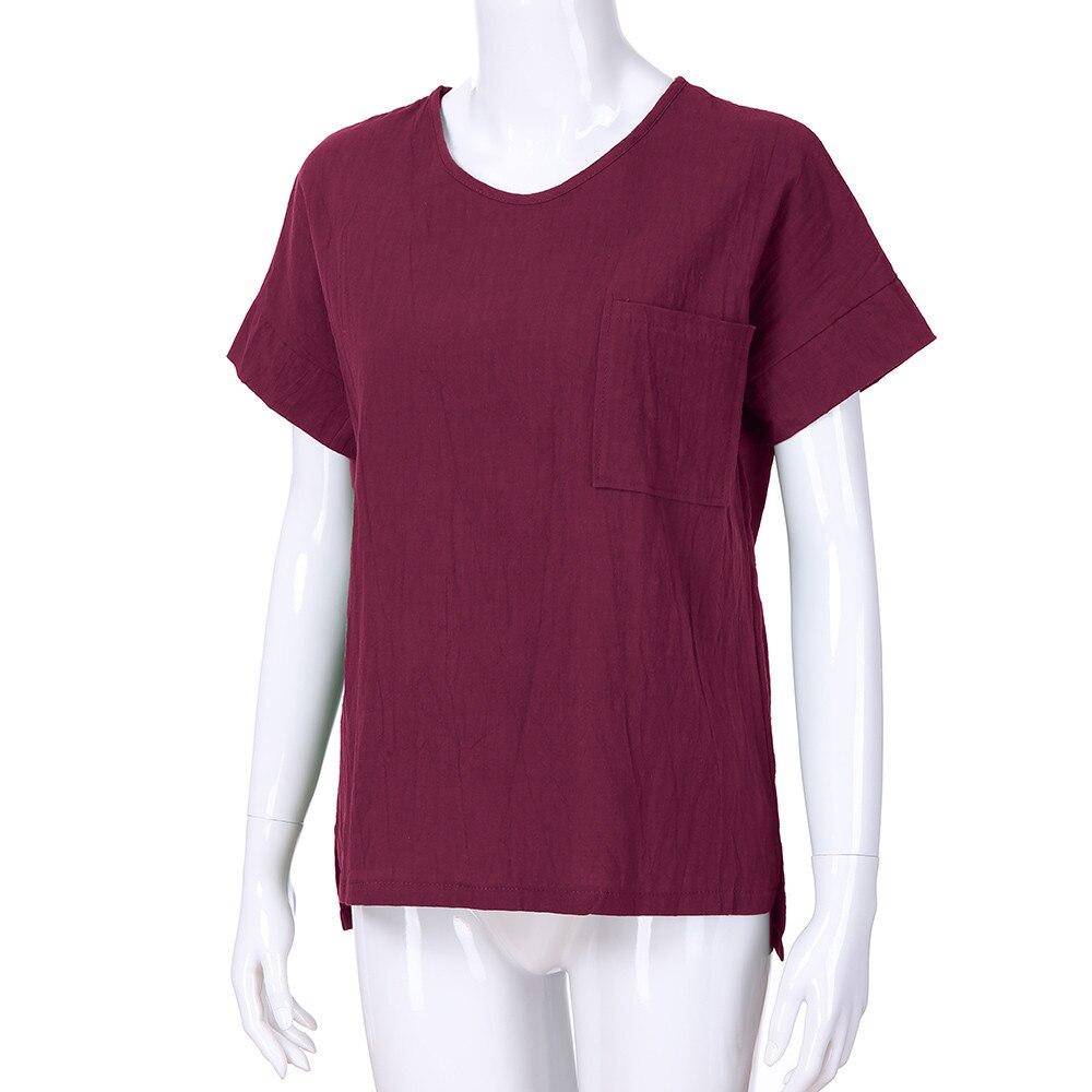 Frauen Damen Kurzarm Casual Koreanische Version Tasche Baumwolle Und Leinen T-shirts Top Bluse Roupas Feminina