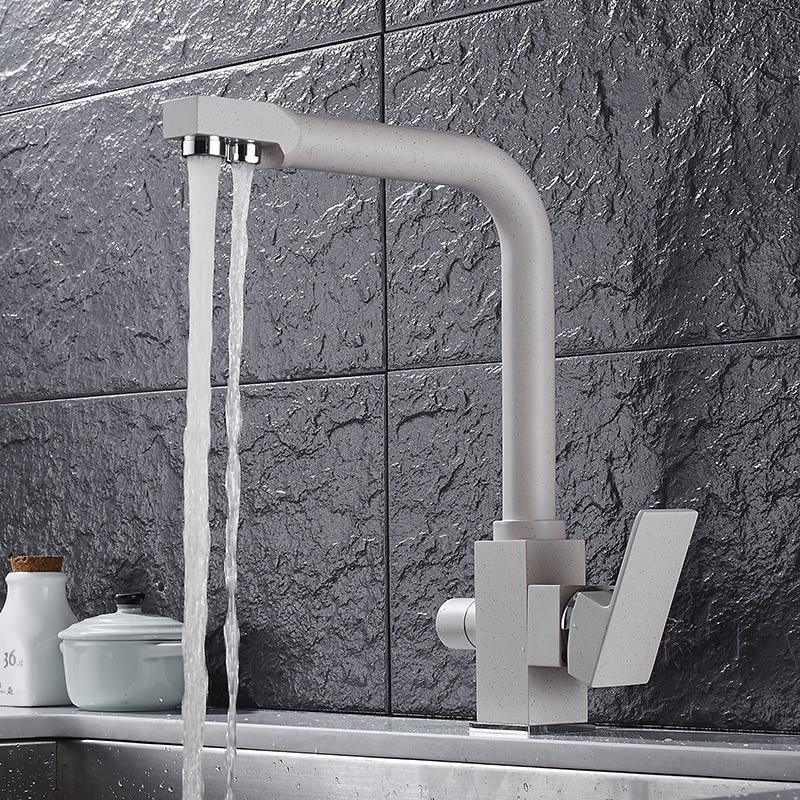 Kitchen faucet Quartz stone matte oatmeal hot and cold faucet Water purifier