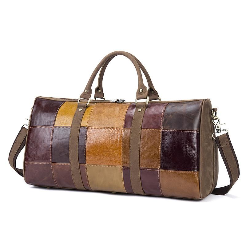 Genuine Leather handbag Vintage High capacity Travel Bag Crossbody Patchwork pattern high quality Casual Messenger Travel