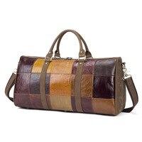Hot Sale Genuine Leather Male Bags Vintage Travel Handbag Bag Designer Patchwork Pattern Large Duffle Bags