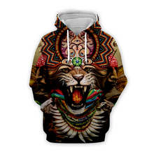 mens Retro Indian national Tiger 3d hoodies streetwear women animal printing sweatshirt autumn long sleeve zipper hooded coat