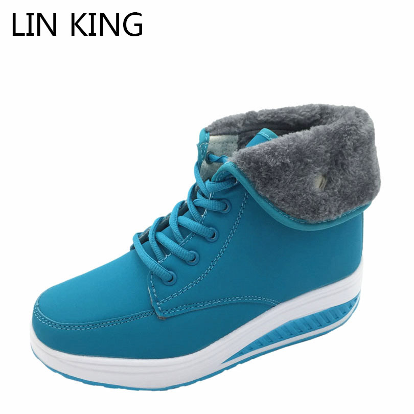 LIN KING Design Women Winter Boots High-top Lace Up Warm Swing Shoes Platform Wedge Elevator Shoes Outdoor Anti Skid Snow Boots